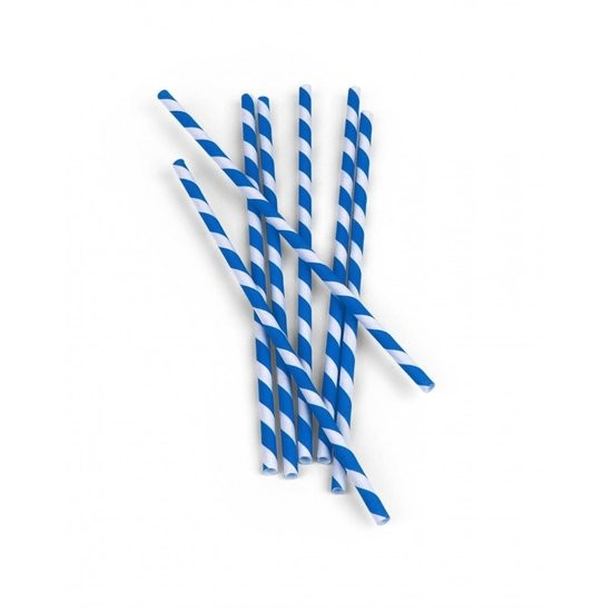 Paper straws blue/white striped 144/box
