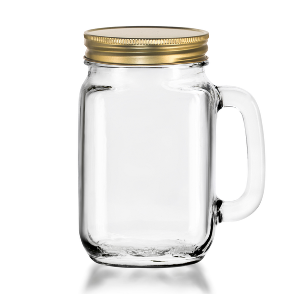 Drinking Jar with handle & lid 473 ml