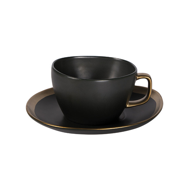 Dynasty Tea cup with saucer green/gold 6/box
