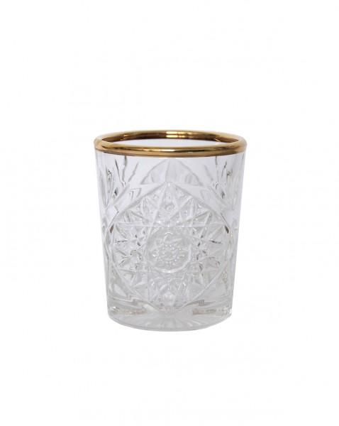 Libbey Hobstar shot glas met gouden rand